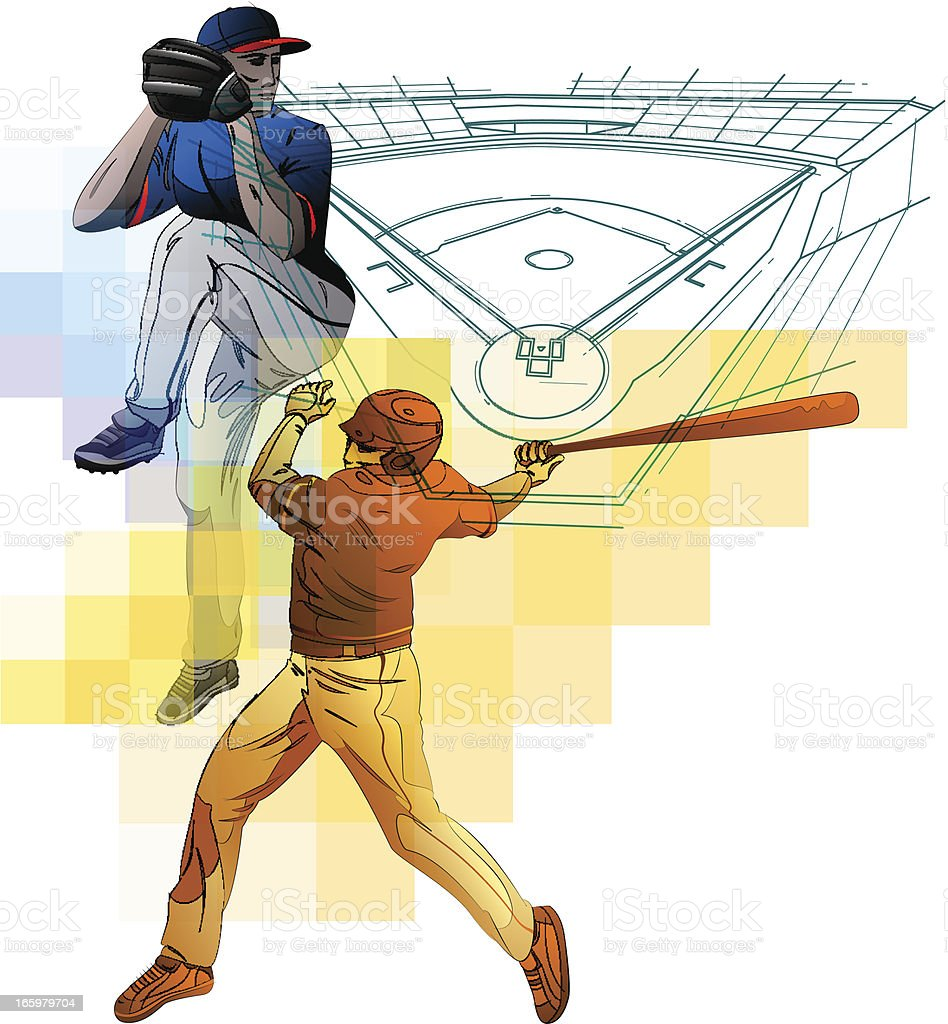 Baseball composition vector art illustration