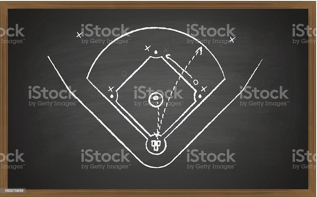 baseball court on board vector art illustration