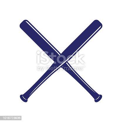 istock Baseball crossed bats. Criss cross bats. Flat vector illustration 1016723636
