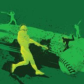 Baseball themed composition, -Baseball player, - vector illustration