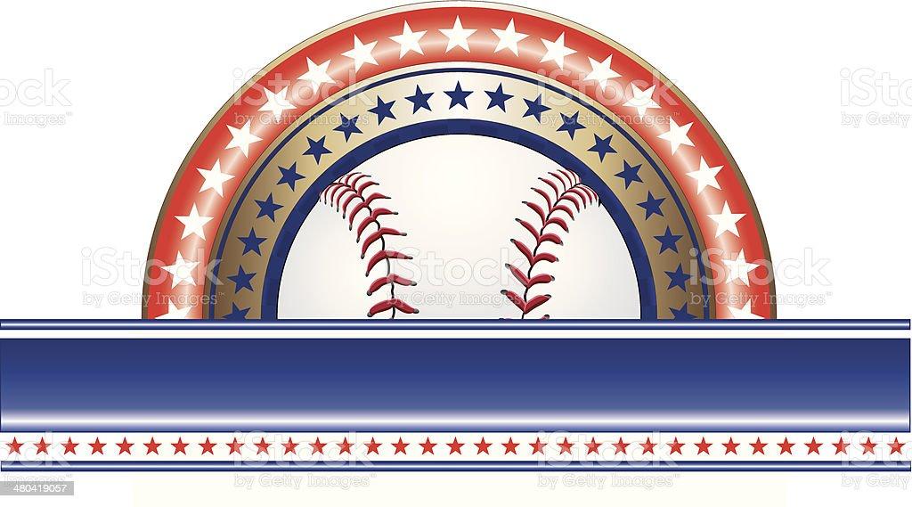 Baseball Design With Stars vector art illustration