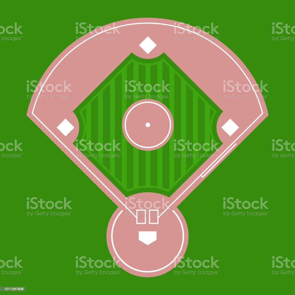 Baseball diamond field top view. Vector flat illustration. vector art illustration