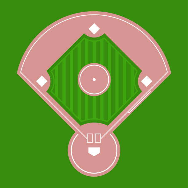 Baseball diamond field top view. Vector flat illustration. Baseball diamond vector icon. infield stock illustrations