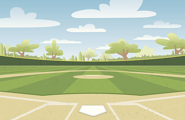 baseball diamond - baseball stadium stock illustrations, clip art, cartoons, & icons