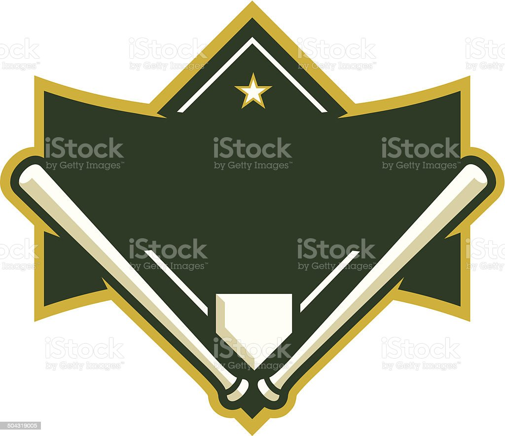 Baseball Diamond with Crossed Bats vector art illustration