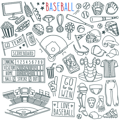 Baseball doodle set. Special equipment, player's clothing, field, stadium, fan's banners and signs.