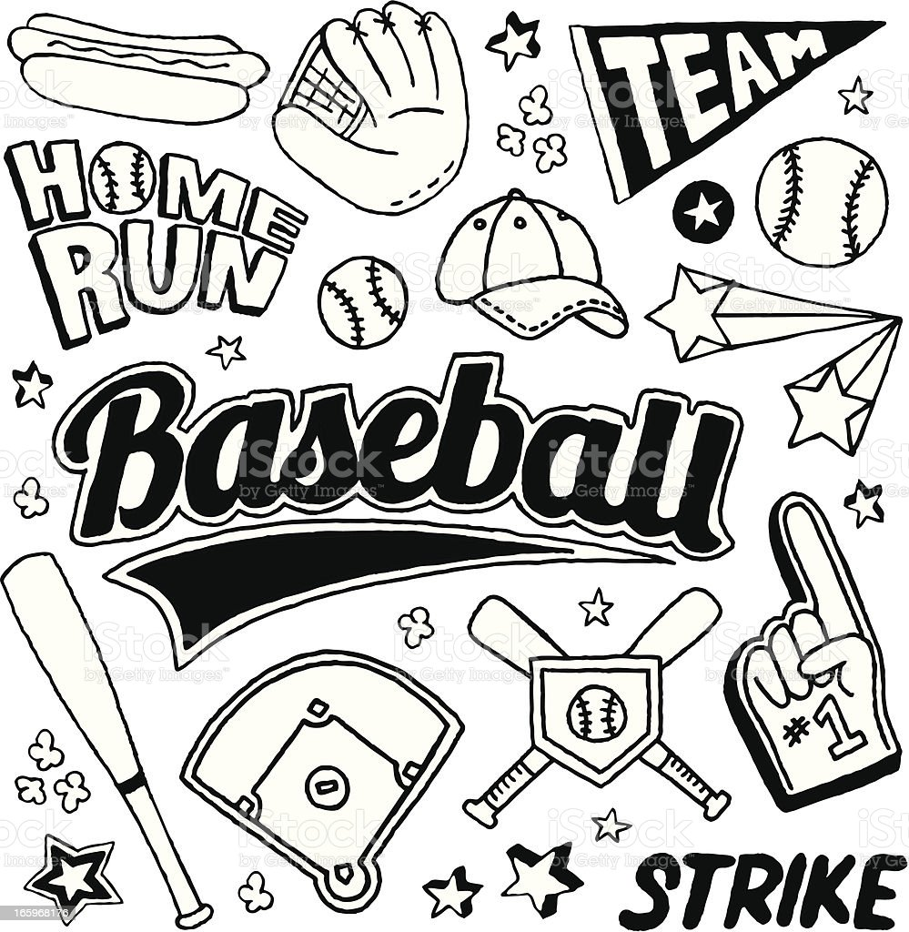 Baseball Doodles vector art illustration