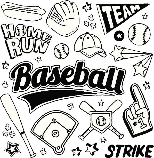 Baseball Doodles A baseball-themed doodle page. infield stock illustrations