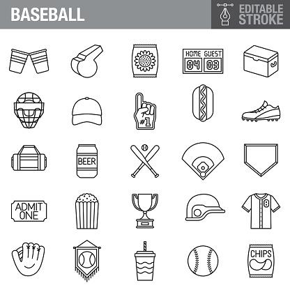 Baseball Editable Stroke Icon Set