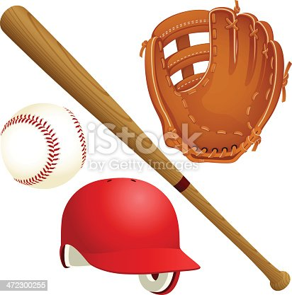 Vector illustration of a selection of baseball equipment. Includes a baseball, a wooden bat, a red batting helmet and a glove. Illustration uses radial and linear gradients. Each item is on its own layer, easily separated from the other items in Illustrator or similar programs.  Both .ai and AI8-compatible .eps formats are included, along with a high-res .jpg, and a high-res .png with transparent background.