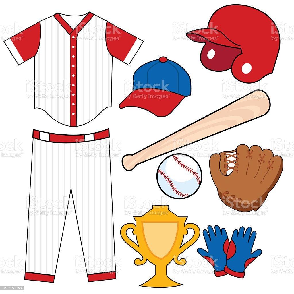 Baseball elements vector art illustration