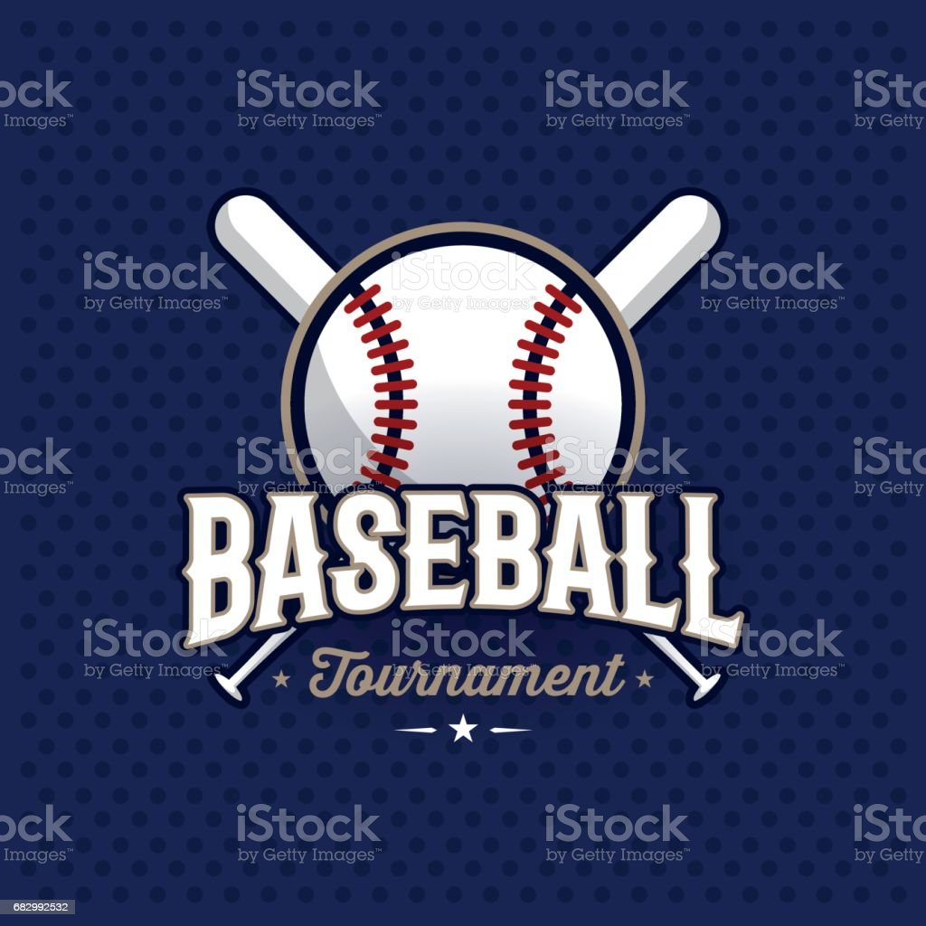 Baseball emblem blue vector art illustration