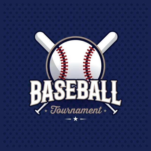 Baseball emblem blue vector art illustration