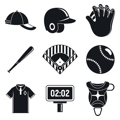 Baseball equipment icons set, simple style