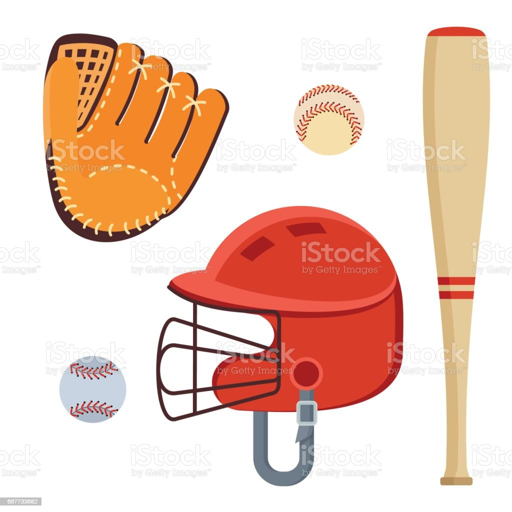 baseball equipment icons vector art illustration