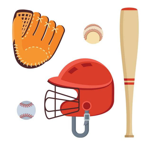 baseball equipment icons vector art illustration