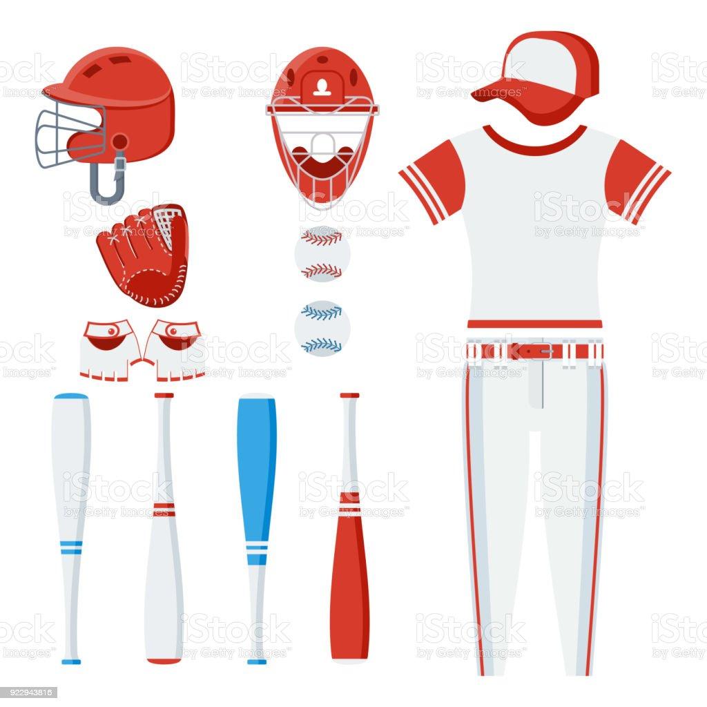 Baseball equipment set vector art illustration