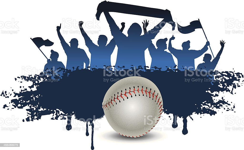 baseball fans vector art illustration
