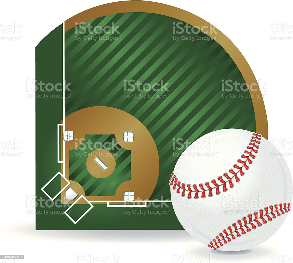 Baseball Field and Ball Background royalty-free stock vector art
