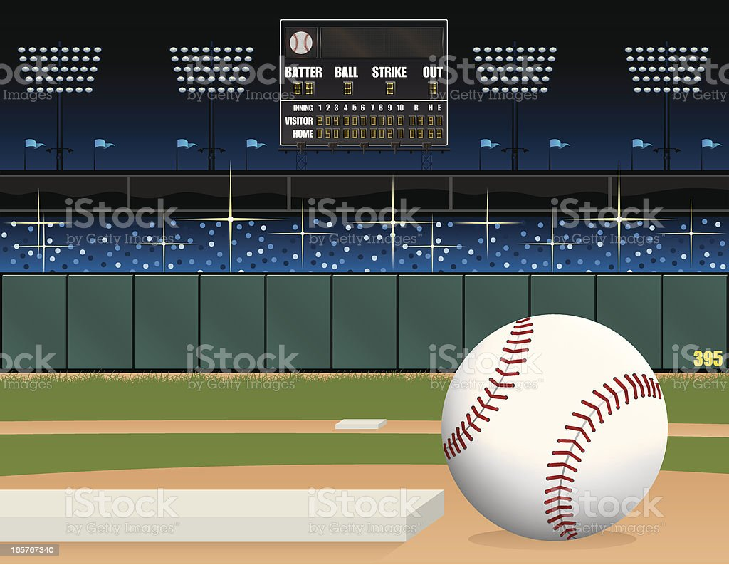 Baseball-Feld und dem Scoreboard – Vektorgrafik