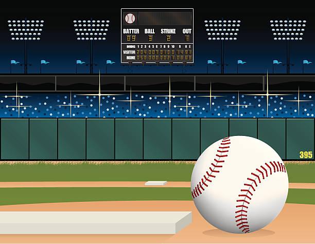 baseball field and scoreboard - baseball stadium stock illustrations, clip art, cartoons, & icons