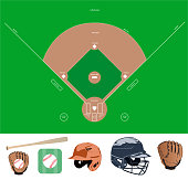 baseball field and stuff icons