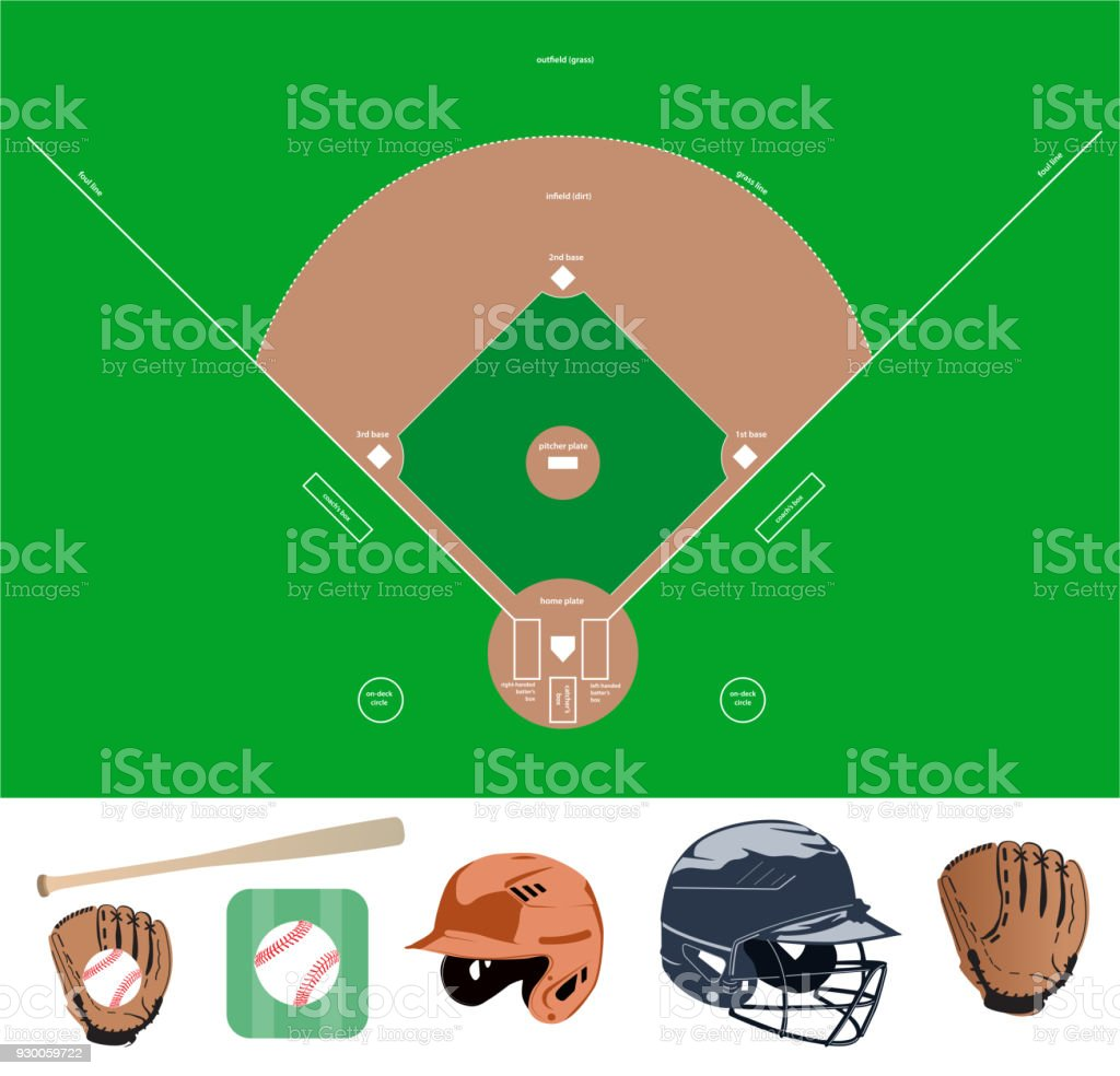 baseball field and stuff icons vector art illustration