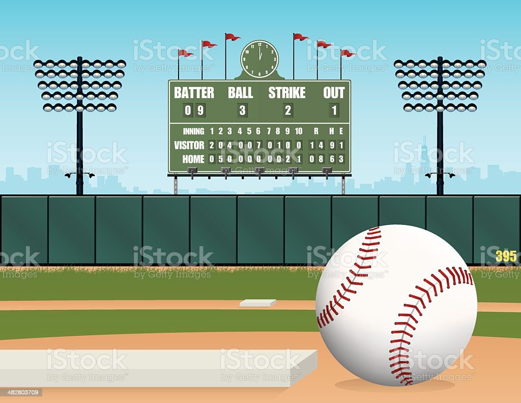 Baseball Field, Ball, Stadium and Retro Scoreboard Vector Illustration vector art illustration