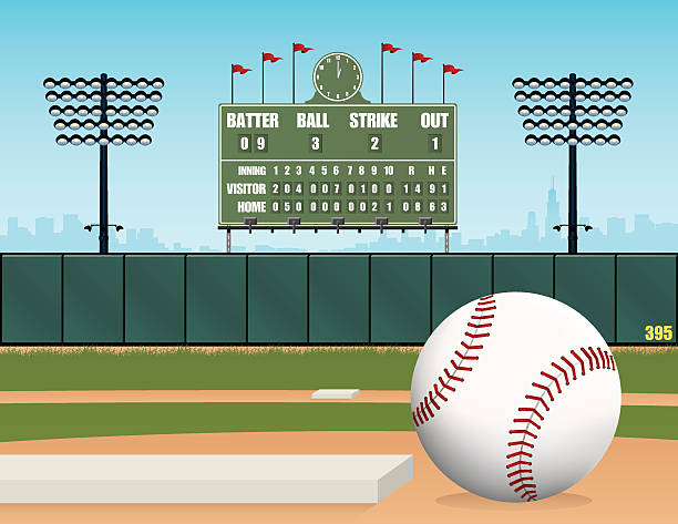 Terrain de Baseball, ballon, Stadium et rétro Tableau des scores Illustration vectorielle - Illustration vectorielle