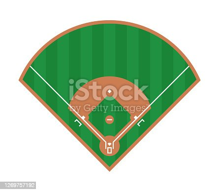 Baseball field icon. Flat illustration of baseball field vector design. Top view