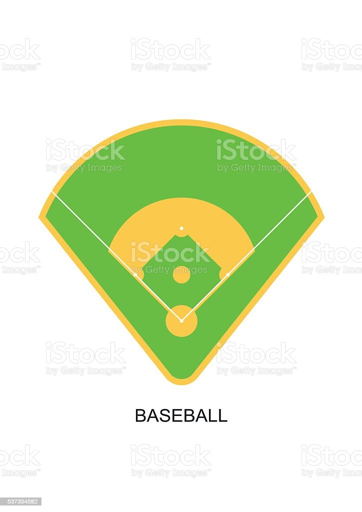 Baseball field icon. Green grass game play stadium flat isolated vector art illustration