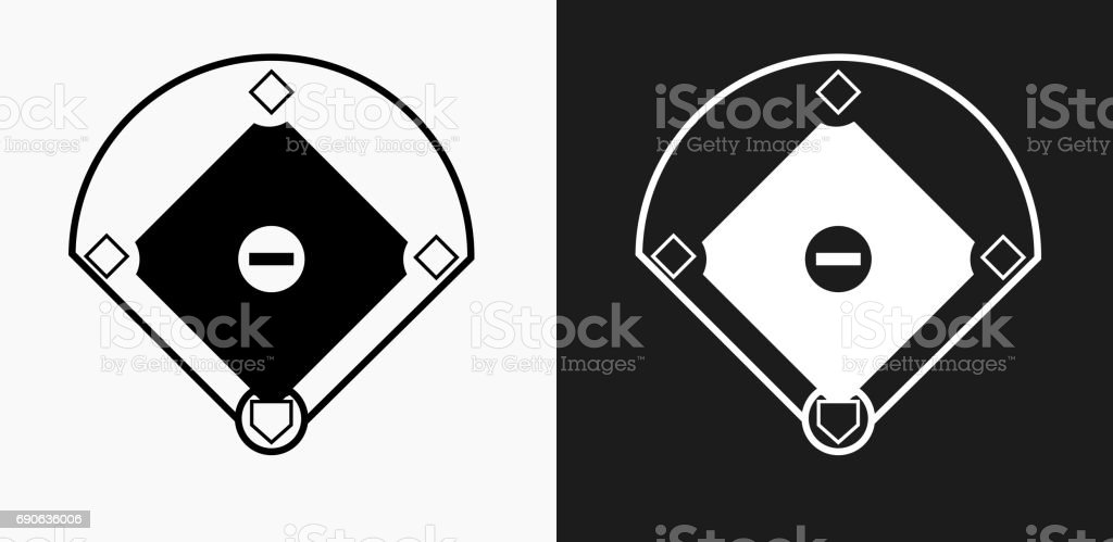 Baseball Field Icon on Black and White Vector Backgrounds vector art illustration