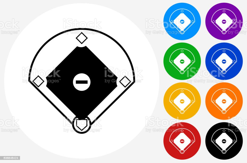 Baseball Field Icon on Flat Color Circle Buttons vector art illustration