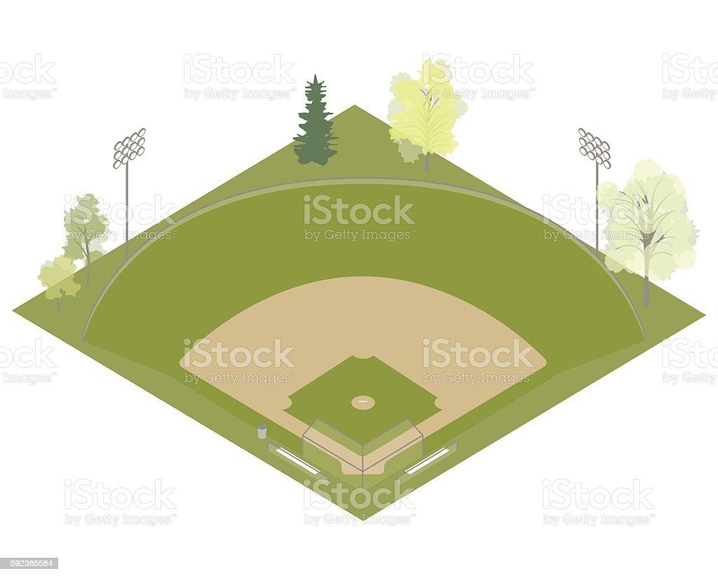 Baseball field illustration vector art illustration