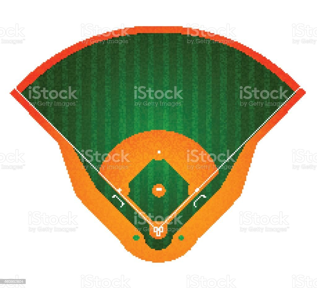 Baseball-Feld. Isoliert auf weiss. Vektor-illustration – Vektorgrafik