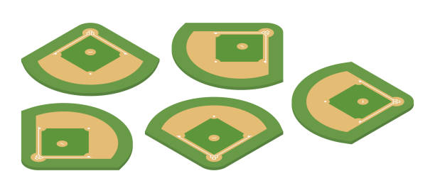 baseball field. isometric vector illustration - softball stock illustrations, clip art, cartoons, & icons