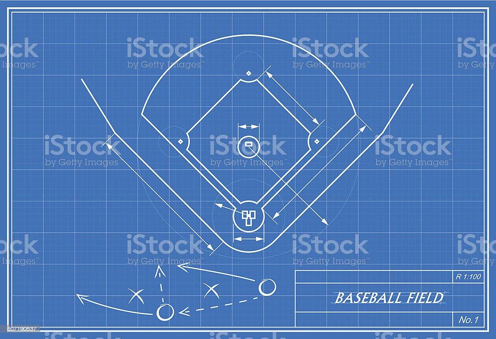 baseball-Feld auf Technische Zeichnung – Vektorgrafik