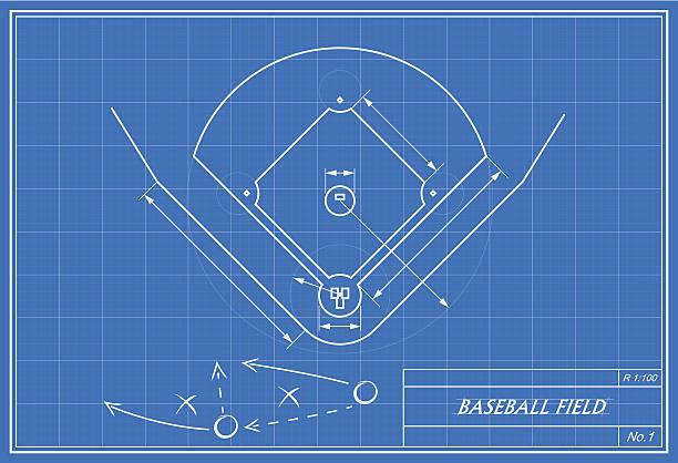 Royalty free baseball field clip art vector images illustrations baseball field on blueprint vector art illustration malvernweather Image collections