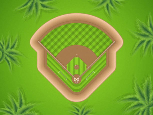 Baseball field A vector illustration of a baseball field at park, top view infield stock illustrations