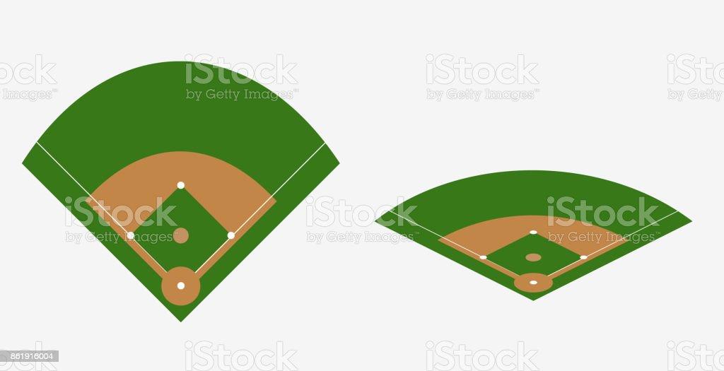 baseball field vector plan vector art illustration