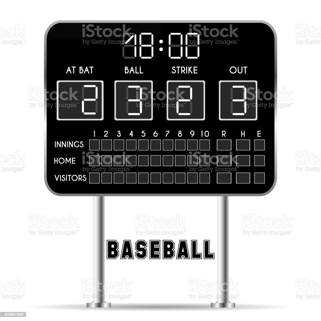 Baseball fields with scoreboard, numbers, bats, balls vector art illustration