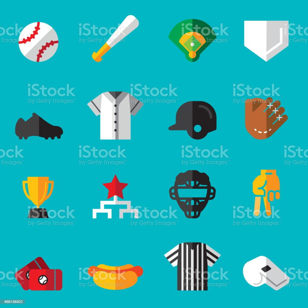 Baseball Flat Icons vector art illustration
