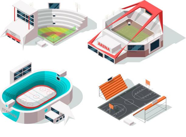 baseball, football, hockey and basketball stadiums exterior. buildings in isometric style - baseball stadium stock illustrations, clip art, cartoons, & icons
