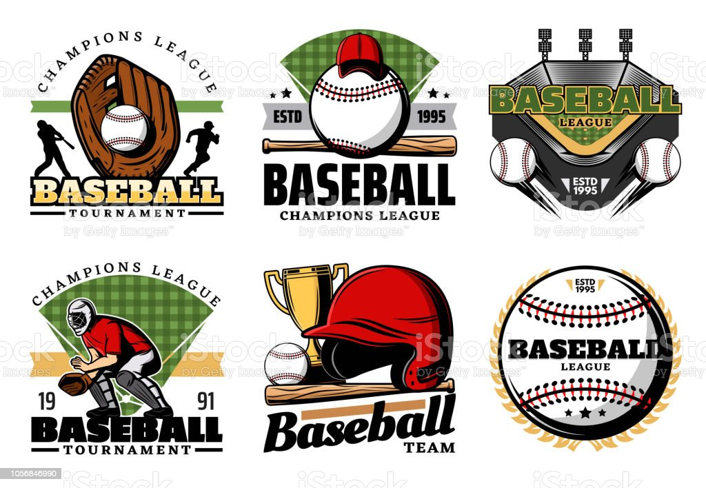 Baseball sporting heraldic icons. Vector leather glove and balls,...