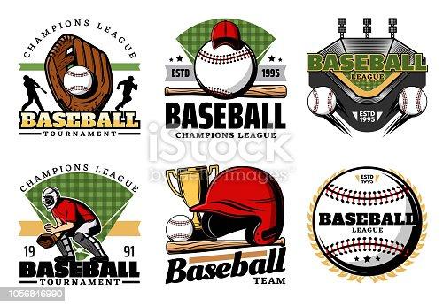 istock Baseball game, ball and sport icons 1056846990