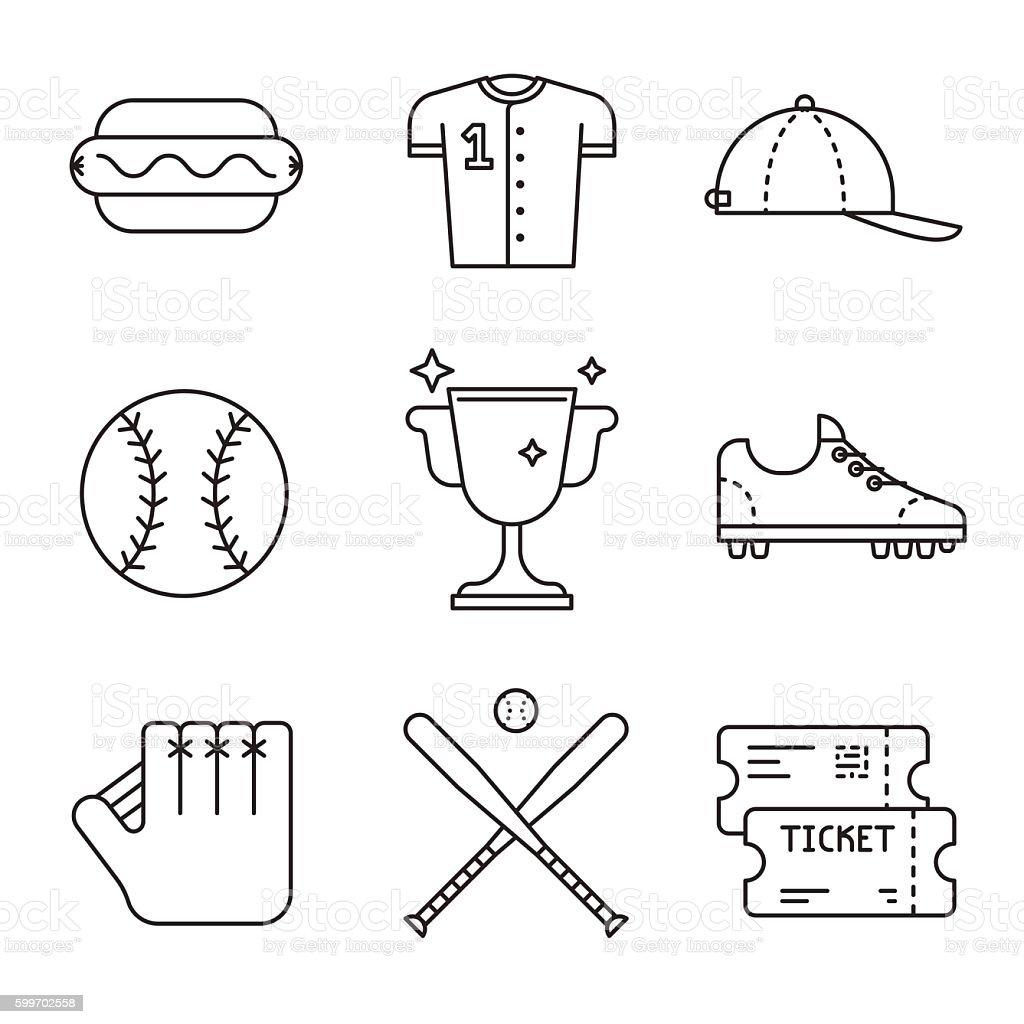 Baseball game equipment icons set vector art illustration