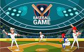 istock Baseball game flat banner vector template 1190211599