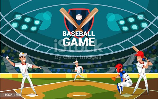 istock Baseball game flat banner vector template 1190211599