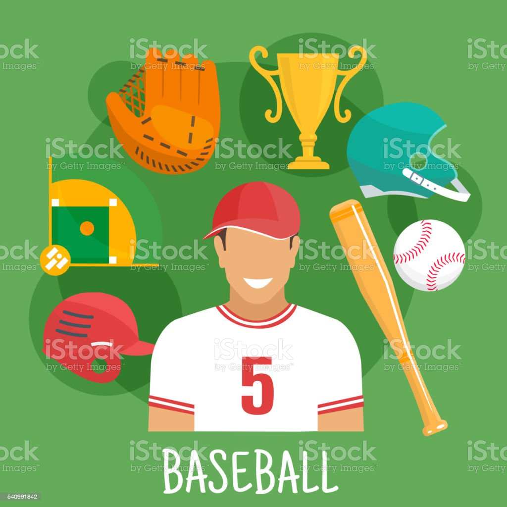 Baseball game icon with batter and sporting items vector art illustration