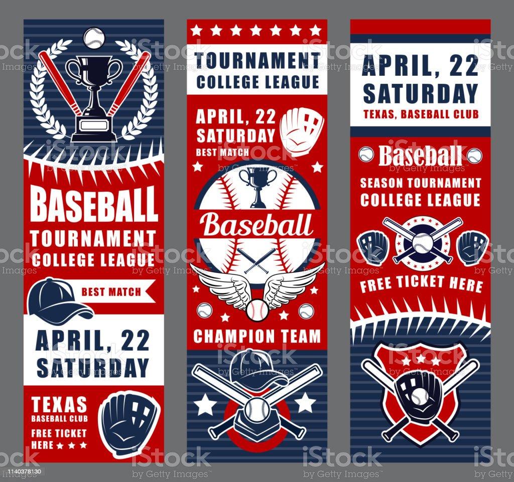 Baseball game sport equipment, trophy cups vector art illustration